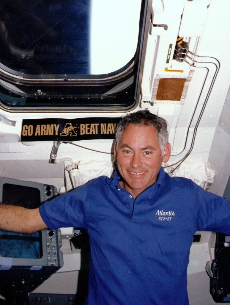 Mike in the cockpit of Atlantis on STS-27
